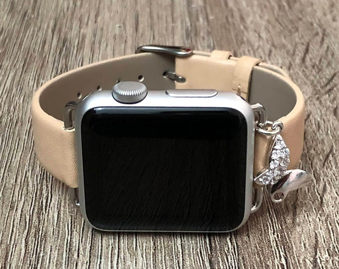 Tan Color Vegan Leather Apple Watch Band 38mm 40mm 42mm 44mm Bracelet Strap Adjustable Apple Watch Band Silver Butterfly Apple Watch Jewelry
