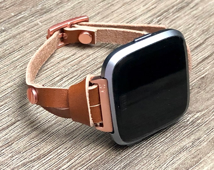 Fitbit VERSA Strap Band Adjustable Rose Gold Fitbit Versa Bracelet Light Brown Slim Fitbit Versa Watch Band Replacement Fitbit Wristband