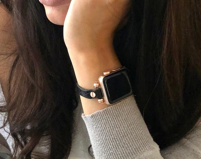 Slim Apple Watch Leather Bracelet 38mm 40mm 42mm 44mm Grain Black Leather Apple Watch Wristband iWatch Strap Rose Gold Apple Watch Band