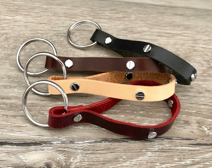 Genuine Leather Keychains with Silver Jewelry Rivets. Red   Brown   Beige   Charcoal  Birthday Gift. Anniversary Gift. Last Minute Gift Idea