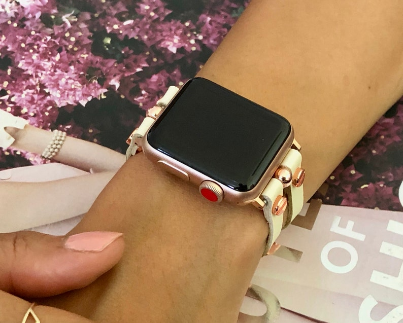 Rose Gold Apple Watch Band 38mm 40mm 42mm 44mm White Leather image 0