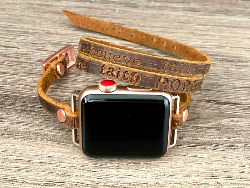 Vintage Brown Apple Watch Band 38mm 40mm 42mm 44mm Embossed image 0