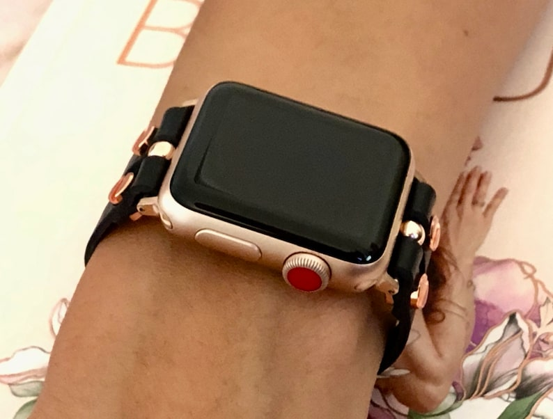Apple Watch Band   38mm 40mm 42mm 44mm  Rose Gold & Black image 0