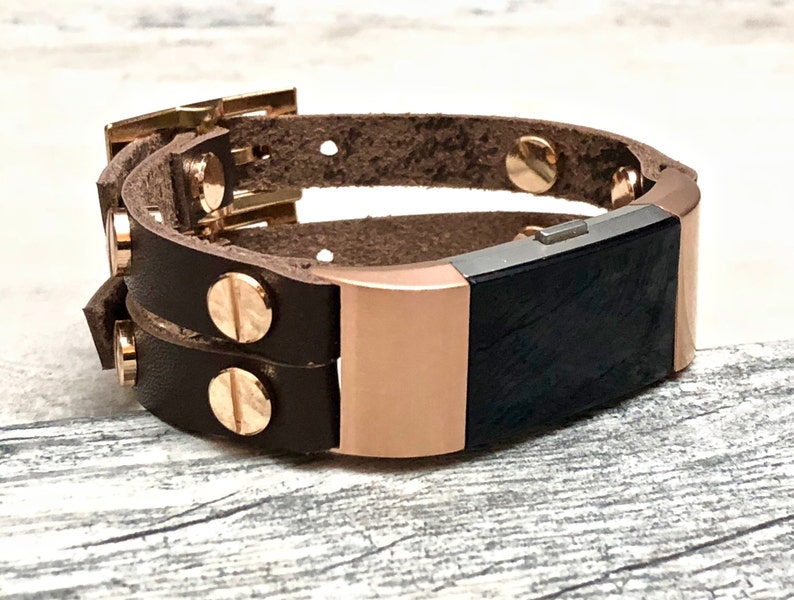 Rose Gold & Leather Fitbit Charge 2 Band Wrap Luxury Genuine Leather Fitbit  Charge 2 Strap Double Cuff Bracelet Fitbit Band Wrap Leather