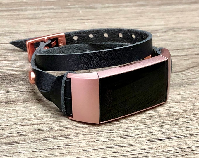 Women Fitbit Charge 3 Band Black Leather Double Wrap Fitbit Charge 3 Strap Luxury Rose Gold Fitbit Charge 3 Band Adjustable Fitbit Bracelet