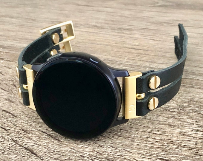 Gold Samsung Galaxy Active 2 Band 40mm 44mm Black Leather Bracelet Women Style Samsung Galaxy Watch 42mm Wristband Galaxy Active Strap