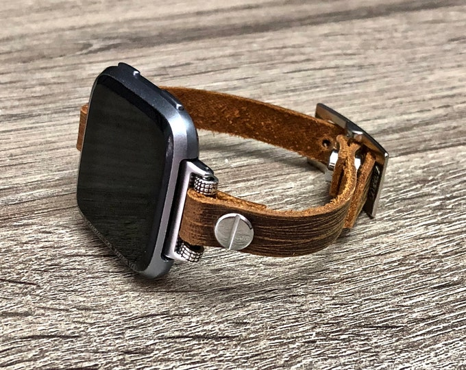 Vintage Leather Fitbit Versa Band Handmade Brown Leather Fitbit Versa Bracelet Adjustable Designer Fitbit Versa Jewelry Unisex Fitbit Band