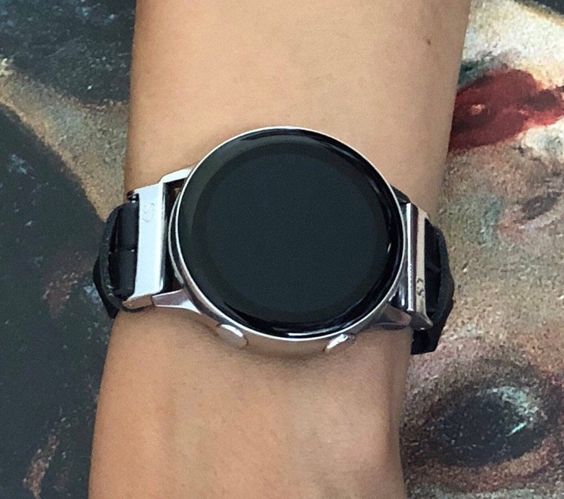 Samsung Galaxy Watch Active Leather Bracelet Slim Black & image 0