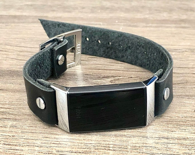 Fitbit Charge 3 Band Black Leather Bracelet Silver Fitbit Wristband High Quality Genuine Leather Strap Silver Accents Adjustable Band