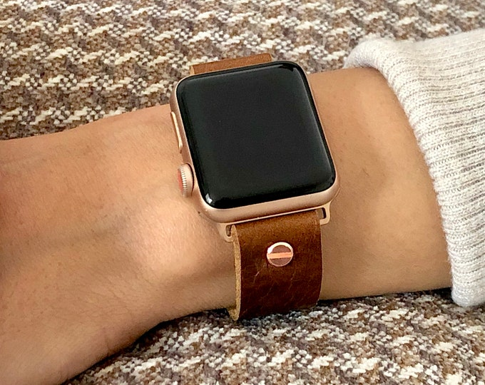 Rose Gold & Brown Leather Apple Watch Band 38mm 40mm 41mm 42mm 44mm 45mm iWatch Bracelet Adjustable Grain Leather Wristband iWatch Strap