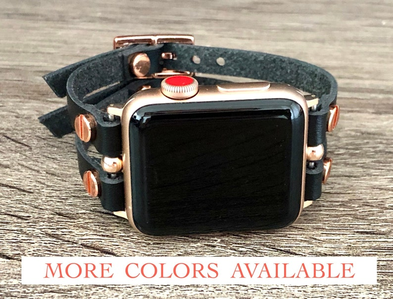 Rose Gold Apple Watch Band 38mm 40mm 42mm 44mm Leather Apple image 0