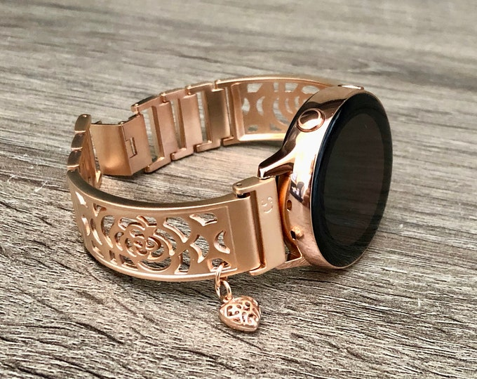 Rose Gold Galaxy Watch Active 40mm Band Adjustable Rose Bangle Dainty Heart Medallion Lady Style Rose Gold Galaxy Watch 42mm Bracelet Band
