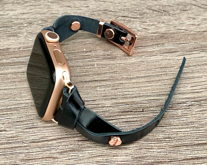 Slim Apple Watch Band 38mm 40mm 42mm 44mm Rose Gold Apple Watch Bracelet Women iWatch Bracelet Dainty Black Italian Leather Wristband