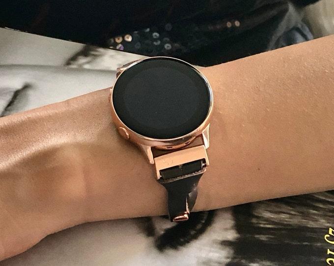 Dark Brown & Rose Gold Galaxy Watch 42mm Bracelet Genuine Leather Samsung Galaxy Watch Active Band Adjustable Samsung Watch Leather Strap