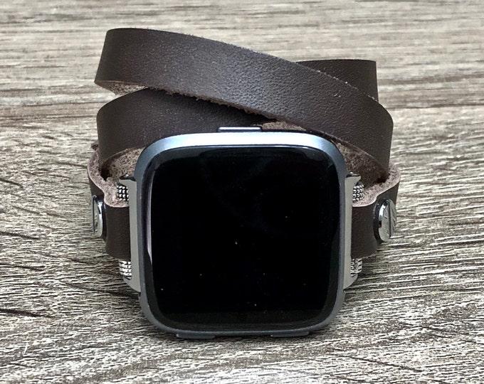 Graphite Leather Fitbit Versa Band Multi Wrap Bracelet for Fitbit Versa Watch Adjustable Fitbit Versa Bracelet Soft Genuine Leather Band