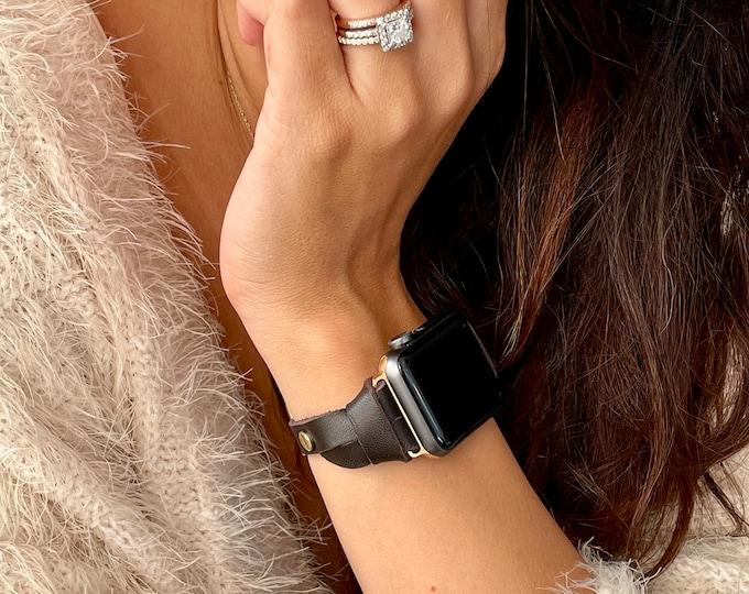 Gold Apple Watch Band Slim Dark Brown Leather Bracelet 38mm 40mm 42mm 44mm iWatch Strap Women Slim Apple Watch Leather Wristband Jewelry
