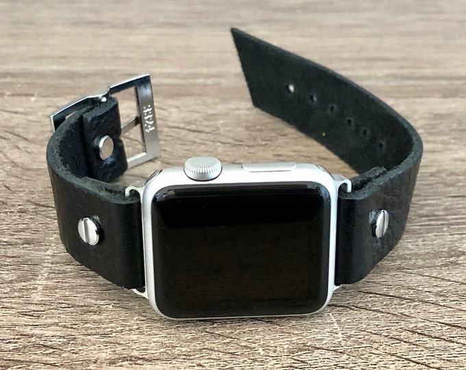 Grain Leather Apple Watch Band 38mm 40mm 42mm 44mm Man iWatch Bracelet Dad iWatch Wristband Adjustable Apple Watch Strap Father's Day Gift