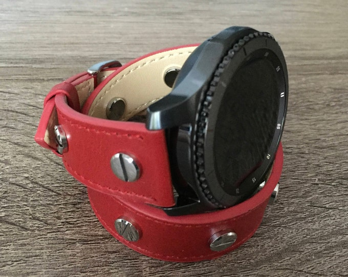 Handmade Red Double Wrap Leather Band for Samsung Gear S3 Classic & Gear S 3 Frontier Smartwatch Strap Multiple Silver Metal Rivets