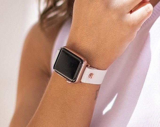 Women Apple Watch Band 41mm 40mm 45mm 44mm White Leather Apple Watch Bracelet Adjustable Apple Watch Wristband Rose Gold Apple Watch Strap