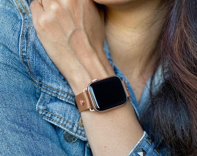 Apple Watch Band 38mm 40mm 42mm 44mm Rose Gold Apple Watch Strap Vegan Light Brown Leather Apple Watch Wristband  Adjustable iWatch Bracelet
