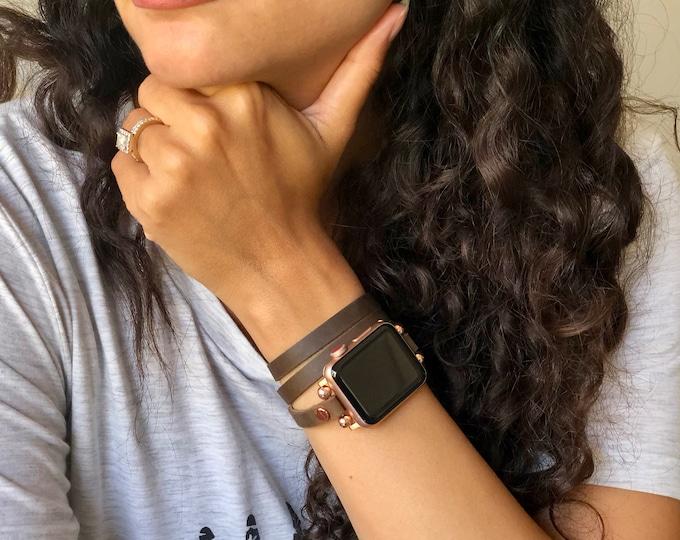 Apple Watch Bracelet, Women Apple Watch Band 38mm 40mm 42mm 44mm, Vintage Rustic Leather Apple Watch Strap, Rose Gold Apple Watch Wristband
