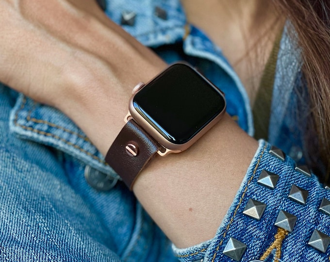 Rose Gold Apple Watch Band 38mm 40mm 42mm 44mm Dark Brown Vegan Leather Women Jewelry Strap Watch Wristband Adjustable iWatch Bracelet