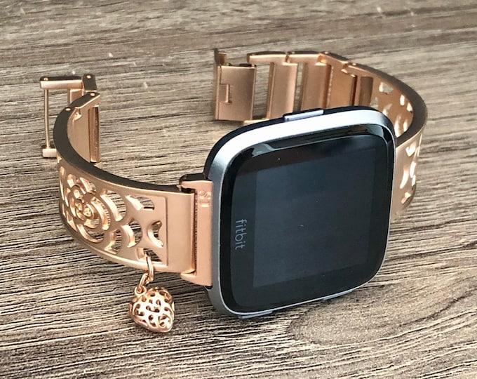 Fitbit Versa 2 Watch Band Rose Gold Fitbit Versa Lite Watch Band Adjustable Fitbit Versa Bangle Women Fitbit Versa Jewelry Heart Medallion