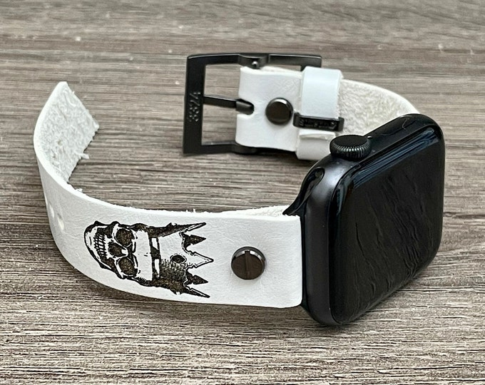 Crown Skull Apple Watch Band 41mm 45mm 38mm 40mm 42mm 44mm White iWatch Bracelet Adjustable Wristband Steampunk Apple Watch Leather Strap