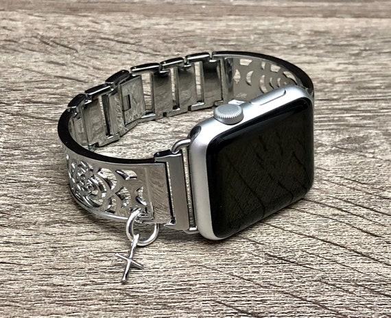 Apple Watch Band 38mm Women Bracelet Shiny Silver
