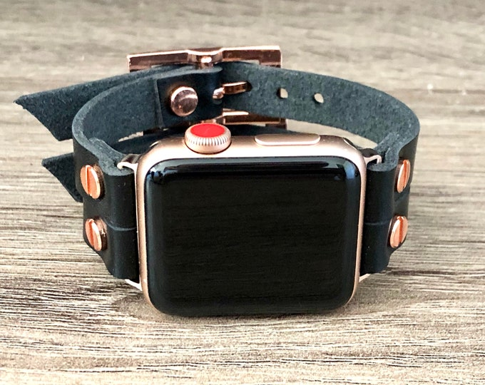 Rose Gold Apple Watch Band 38mm 40mm 42mm 44mm  iWatch Strap Band Bracelet 38mm 40mm 42mm 44mm Double Wrap Cuff iWatch Band