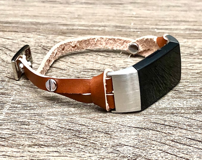 FITBIT CHARGE 3 Band Elegant Bronze Leather Slim Fitbit Charge 3 Strap Bracelet Stainless Steel Fitbit Charge 3 Bracelet Leather Band