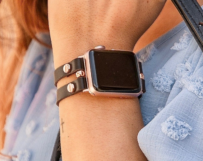 Leather Apple Watch Band 41mm 40mm 38mm Rose Gold Apple Watch Bracelet 42mm 44mm 45mm Dark Brown Wristband Women Apple Watch Strap Jewelry