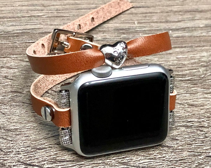 Leather Apple Watch 38mm 40mm 42mm 44mm Band Women Style Strap Bracelet Sterling Silver Paw Prints Heart Bead Apple Watch Strap iWatch Band
