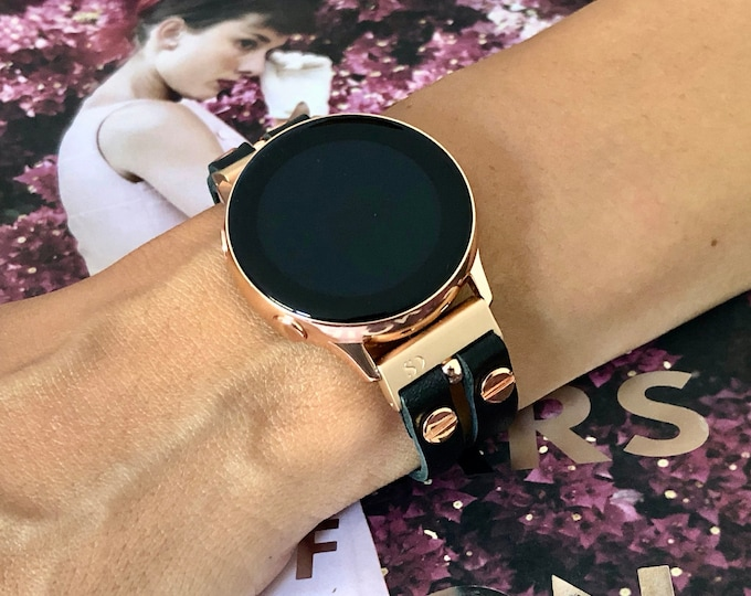 Rose Gold Galaxy Active2 Band 40mm 44mm Watch Black Leather Strap Samsung Galaxy Watch 42mm Bracelet Women Galaxy Active Band Wrist Jewelry