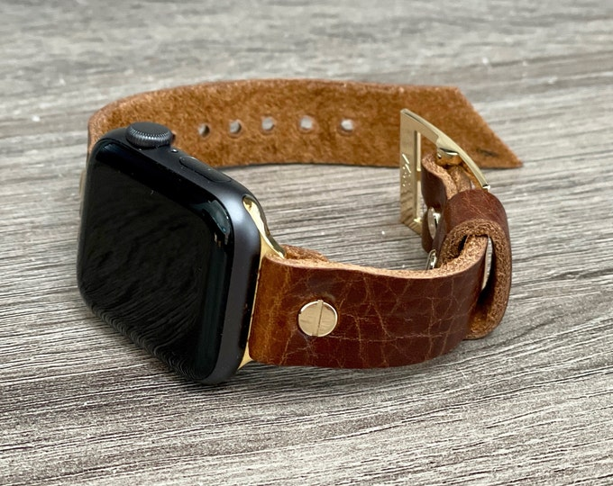 Brown Leather Apple Watch Band 38mm 40mm 42mm 44mm Gold iWatch Bracelet Adjustable Grain Leather Wristband Women Dressy Watch Strap Bands