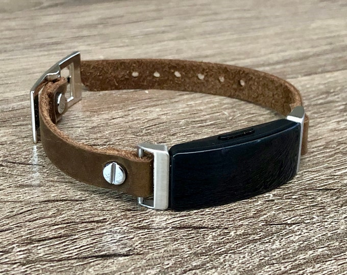 Leather Fitbit Inspire 2 Band Fitbit Inspire 2 Bracelet, Silver & Distressed Brown Leather Strap BoHo Style Fitbit Inspire 2 Wristband
