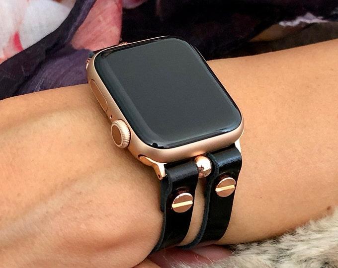 Black Italian Leather Apple Watch Band 38mm 40mm 42mm 44mm Rose Gold Apple Watch Strap Women iWatch Bracelet Jewelry Apple Watch Wristband