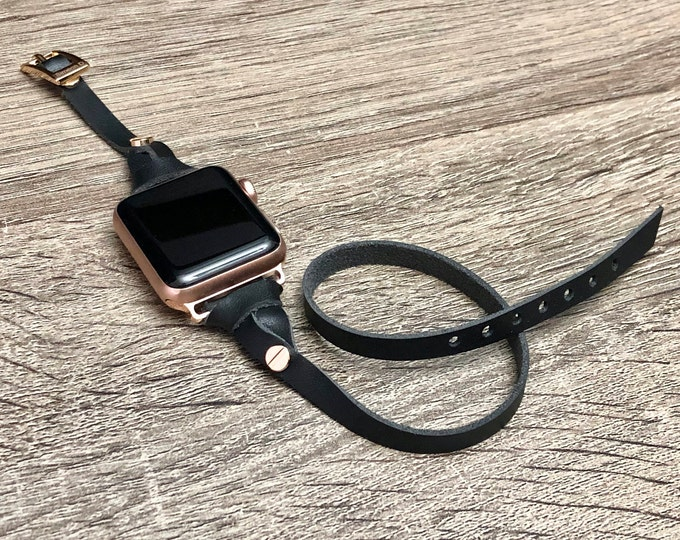 Apple Watch Band Strap 38mm 40mm 42mm 44mm iWatch Band Black Genuine Leather Apple Watch Bracelet iWatch Gold Aluminum Series 3 4 iWatch