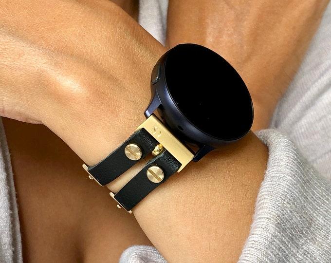 Samsung Galaxy Watch 4 Band 40mm 44mm Yellow Gold & Black Leather Bracelet Women Style Galaxy Watch 4 Cuff Wristband Galaxy 4 Watch Strap