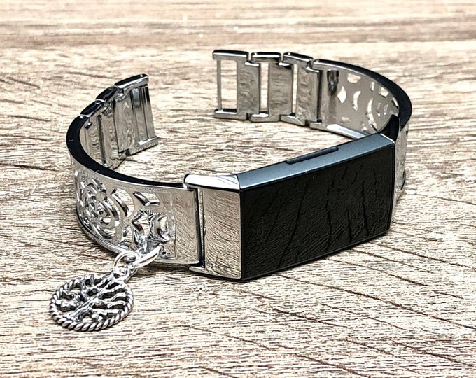 Silver Metal Fitbit Charge 3 Band Women Style Silver Fitbit Bangle with Tree of Life Medallion Fitbit Charge 3 Bracelet Fitbit Jewelry