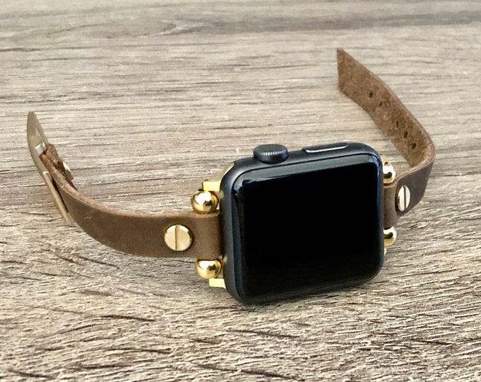 Apple Watch Band 38mm 40mm 42mm 44mm Vintage Rustic Leather & Gold Apple Watch Strap Gold iWatch Wristband Multi Wrap Apple Watch Bracelet