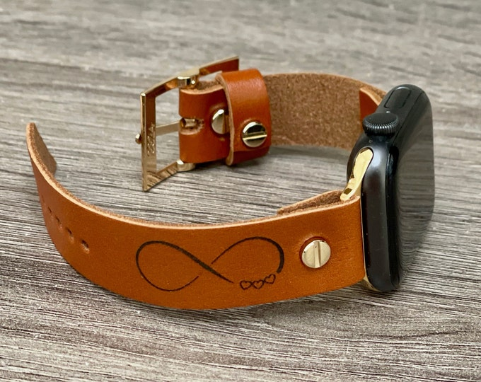 Apple Watch Band 40mm 41mm 44mm 45mm iWatch Bracelet Adjustable Infinity Engraved Leather Wristband Infinity & Hearts Strap Apple Watchband