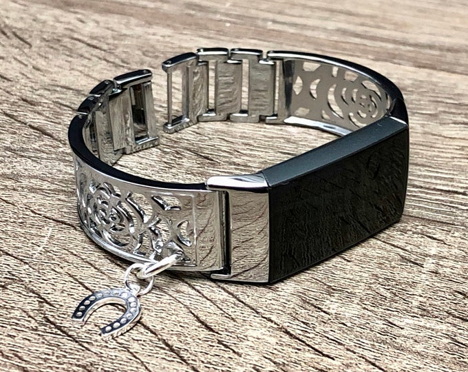 Women Style Fitbit Charge 3 Band Silver Bangle Fitbit Charge 3 Bracelet Fitbit Charge 3 Jewelry Adjustable Fitbit Band Horseshoe Medallion