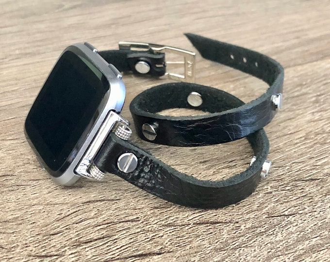 Fitbit Versa Band Black Leather Strap for Fitbit Versa Watch Adjustable Size Designer Fitbit Versa Bracelet Jewelry