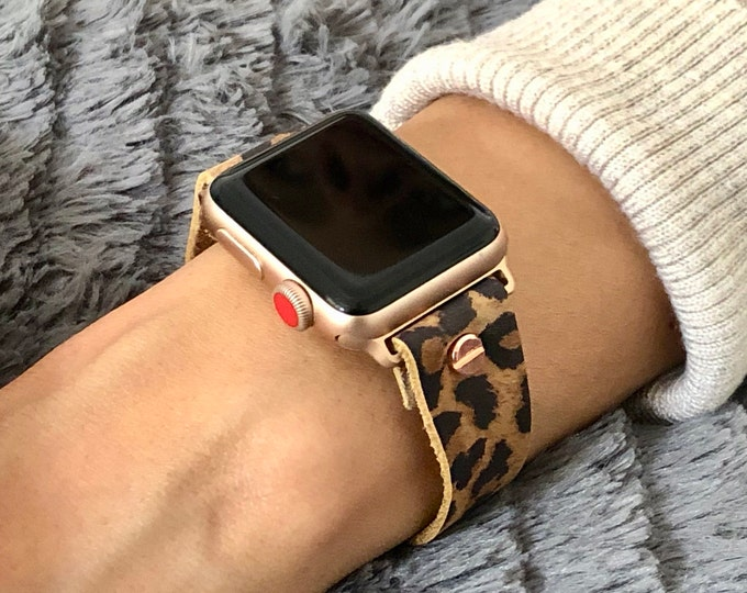 Leopard Print Rose Gold Apple Watch Band 38mm 40mm 42mm 44mm iWatch Bracelet Adjustable Wristband Rose Gold Watch Band Wife's Gift Jewelry