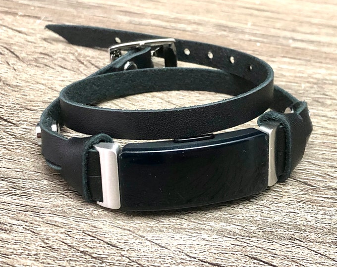 Fitbit Inspire Band Double Wrap Silver & Black Bracelet Slim Genuine Leather Fitbit Strap, Fitbit Inspire HR Band, Fitbit Inspire Jewelry