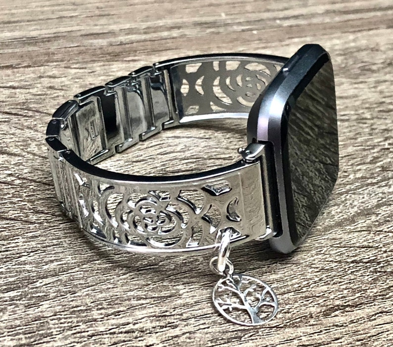 Fitbit VERSA 2 Watch Band Shiny Silver Fitbit Versa 2 Band for image 0
