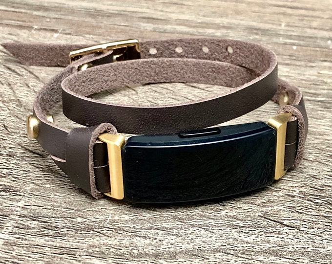 Dark Brown Fitbit Inspire HR Band Double Wrapped Fitbit Inspire Strap Bracelet Slim Genuine Leather Adjustable Size Fitbit Jewelry Wristband