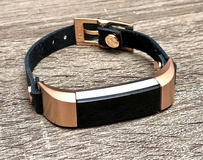 Black Leather & Rose Gold Fitbit Alta HR Band for Women Fitbit image 0