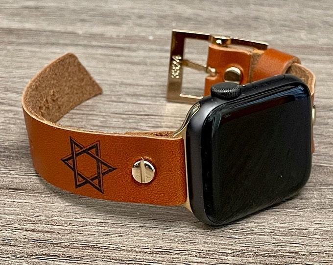 Star Of David Apple Watch Band 40mm 41mm 38mm 42mm 44mm 45mm iWatch Bracelet Adjustable Wristband Brown Leather Hexagram Apple Watch Strap